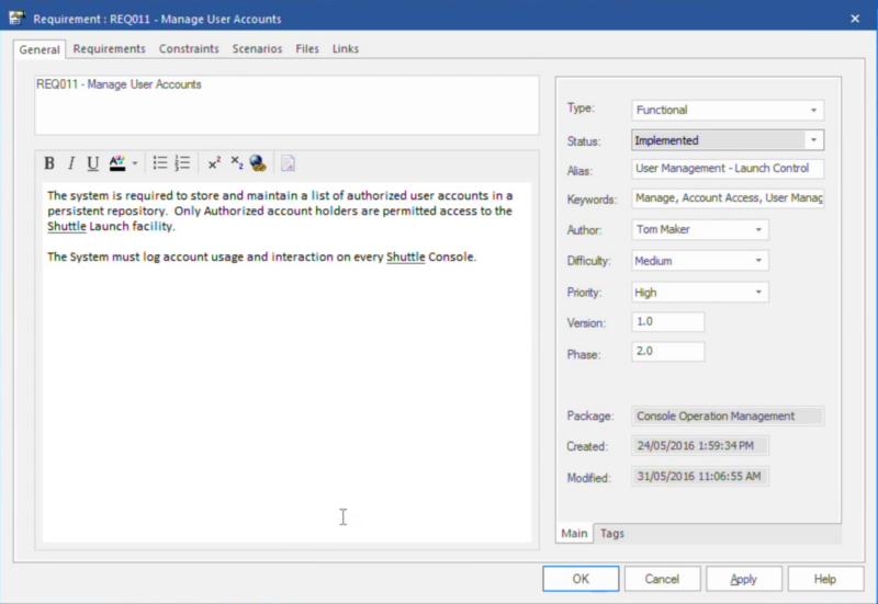 Abbildung 3 - Anforderungen dokumentieren mit Enterprise Architect