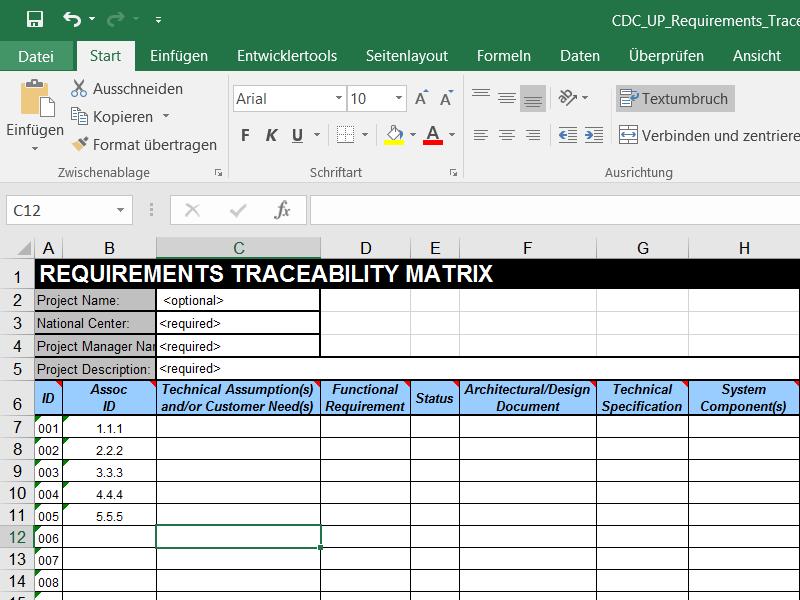 Requirments Engineering mit Excel Abbildung 1
