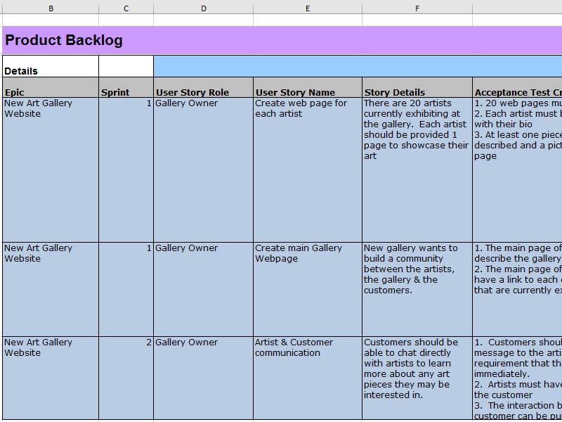 Requirments Engineering mit Excel Abbildung 2